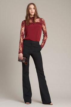 Monique Lhuillier | Pre-Fall 2016 | 14 Red lace long sleeve top and black trousers