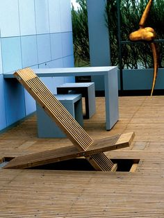 Modernist Garden Furniture Architectural in Style - Pop Up Deck Chair Build Into the Patio!