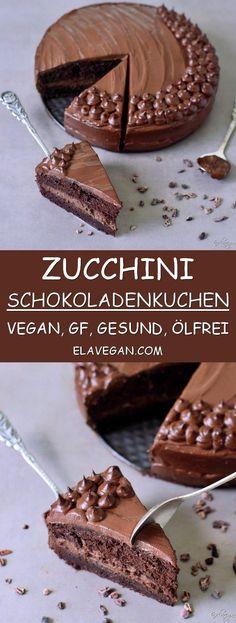 Zucchini-Schokoladenkuchen Rezept welches gesund, vegan, glutenfrei, frei von raffiniertem Zucker, eifrei, milchfrei und ölfrei ist. Dieser vegane Kuchen ist schokoladig, lecker und einfach zu machen