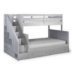 Harriet Bee Roxane Twin over Full Standard Bed Bunk Beds With Drawers, Under Bed Drawers, Bunk Beds With Storage, Cool Bunk Beds, Bunk Beds With Stairs, Bed Storage, Loft Beds, Storage Drawers, Bunk Bed Steps