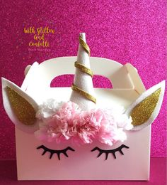 Unicorn Favor Box. This magical treat box goes perfectly with our Unicorn Pinata. Shop at withglitternconfetti at Etsy.com