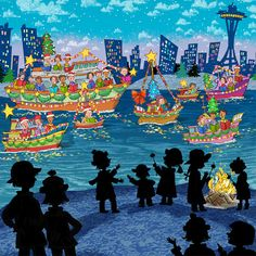 John Nez children's book illustrations 'Silhouttes'– Seattle in the background!