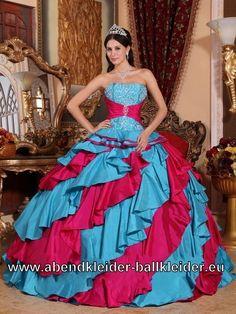 Blau Rotes Tafft Brautkleid Abendkleid Ballkleid Online