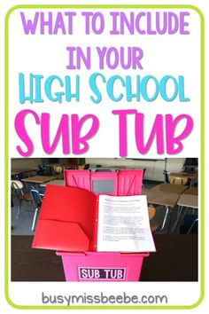 Are your emergency sub plans ready to go and easy to use? Read this post for tips to implement a sub tub for your high school classroom. Are your emergency sub plans ready to go and easy to use? Read this post for tips to implement a sub High School Classroom, English Classroom, Special Education Classroom, Science Classroom, English Teachers, Highschool Classroom Decor, Classroom Teacher, Classroom Door, Kids Education