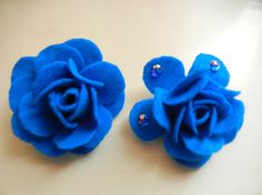 Royal Blue Felt Rose with safety catch by RelativeCreations4U