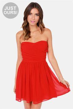 LULUS Exclusive Sash Flow Strapless Red Dress at LuLus.com! ^ Mine! Back off! :P :D