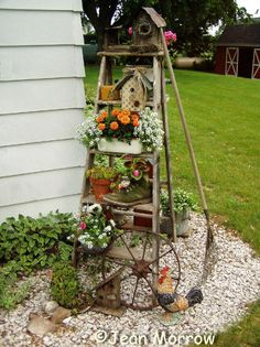 old ladders reach new heights in the garden, gardening, repurposing upcycling, Jean Morrow