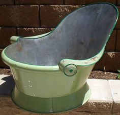 Cowboy bath | GREAT OLD TIN COWBOY BATH TUB W/ WOOD ON ARM RESTS