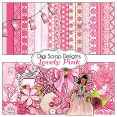 Lovely Pink Digital Scrapbook Kit, Instant Download, for Cards, Invites, Girl Birthday, Digital Scrapbook