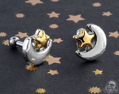 Moon and Star Barbell Gauges Plugs, Tragus, Body Piercing, Barbell, Body Jewelry, Cufflinks, Moon, Stars, Accessories