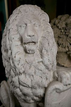 Carrara Marble Armorial Lions 7