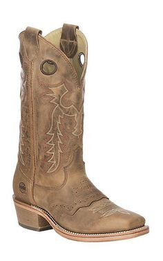 Double H Men S Folklore Tan Buckaroo Western Square Toe Boots Cavender For