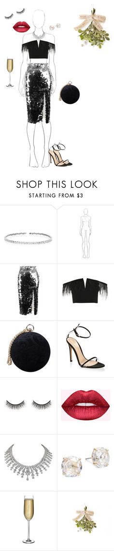 """festive glam"" by sophparr ❤ liked on Polyvore featuring Suzanne Kalan, Anouki, Topshop, Carvela, Gianvito Rossi, Battington, Dreamgirl, Kate Spade and Nude"
