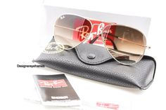 Ray-Ban RB3025 001/51 Gold Crystal Brown Grad 58MM Aviators Sunglasses NWT AUTH #RayBan #Aviator