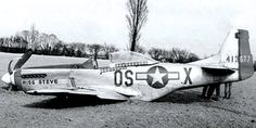 """The P-51 Mustang of Bill Cullerton after it was shot down over Germany in April 1945. The plane was named """"Miss Steve"""" for Cullerton's fiancée Elaine Stephen"""