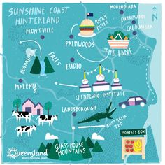 A day in the Sunshine Coast Hinterland [video] - Great itinerary and super cute illustration by Fatti Burke Hello Australia, Coast Australia, Australia Travel, Brisbane Queensland, Queensland Australia, Travel Oz, Travel Maps, Sunshine State, Cards