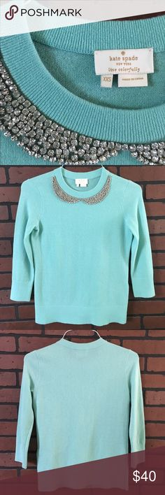 """Kate Spade sweater 🌾 Color is mint green🌾3/4 sleeves🌾 material is 48% wool 36% modal 13% polyamide 3% cashmere🌾 sweater measures approx 15.5"""" across by approx 23"""" long 🌾 kate spade Sweaters"""