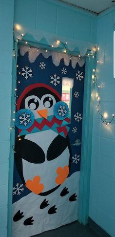 Penguin classroom door decoration - Home Page Christmas Door Decorating Contest, Holiday Door Decorations, School Door Decorations, Christmas Classroom Door, Preschool Decor, Teacher Doors, Winter Theme, Superpower, Door Ideas