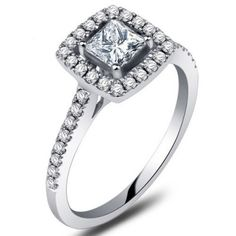 One of our bestselling Halo ring designs, this half carat Princess cut Halo diamond engagement ring on 10k White Gold is now on closeout sale for limited time. The Halo ring showcases princess cut center diamond surrounded by a row of glittering round cut diamonds making the Halo setting. Besides the affordable sale price, the order also comes with free fedex shipping for limited time.