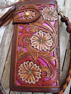 very Heavily handtooled leather wallet by hollywoodriffraff