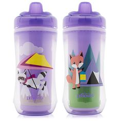 "Dr Brown's BPA Free 2 Pack 10 Ounce Hard Spout Transition Cup - Girl Raccoon and Fox - Dr. Browns - Babies ""R"" Us"