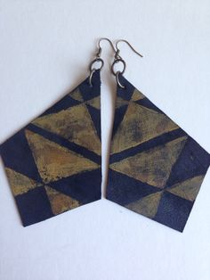 Earrings Up Cycled Leather Geometric Bohemian  by ElicasArt on Etsy, $10.00