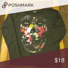 Misfits sweater! Grey sweater with a front pocket and a floral skull, very cute and comfy! Misfits Tops Sweatshirts & Hoodies