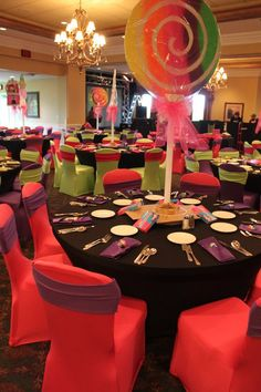 Satin chair covers... what a way to make a statement with your own color choices.