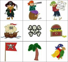 """ARRR! Applique """"Pirates"""" with fun, filled details & elements to stitch alone or make fun adventure scenes! 16 designs in all!"""