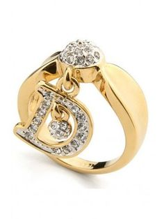 Fashion Euramerican Letters Alloy with Rhinestone Ring
