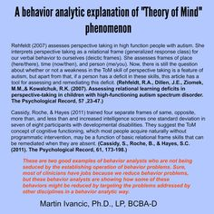 "A behavior analytic explanation of ""Theory of Mind"" phenomenon Task Analysis, Applied Behavior Analysis, Autism Classroom, Educational Psychology, School Psychology, Autism Treatment Center, Autism Articles, Speech Therapy Activities, Autism"