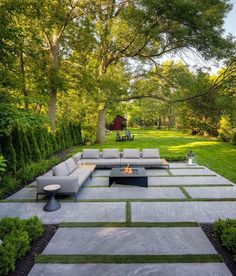 Modern Landscaping, Backyard Landscaping, Modern Backyard Design, Modern Landscape Design, Back Gardens, Outdoor Gardens, Outdoor Fire Table, Outdoor Spaces, Outdoor Kitchens