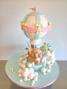 Cake Desing Baby Shower Hot Air Balloon Ideas For 2019 Amazing Baby Shower Cakes, Baby Shower Sheet Cakes, Baby Shower Cake Designs, Patisserie Fine, Hot Air Balloon Cake, Unique Cakes, Girl Cakes, Fondant Toppers, Cute Cakes
