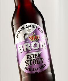 """""""During our cooperation with VAN PUR we have created the design of new BROK  brand product line. We have referred to historical beer labels from the  Brewery based in Koszalin. Under this product line on the market have  appeared four BROK styles: Extra Stout, India Pale Ale, Brown Ale and  Gluten-Free lager. All these beers are being brewed by specially selected  kinds of malt and hop."""""""