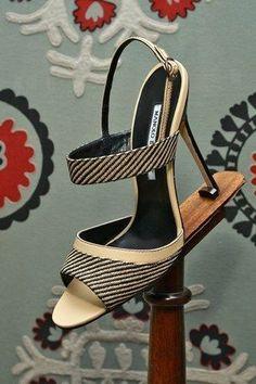 #Manolos Manolos Blahnik Striped Sandal Spring 2014 #Shoes #Heels #manoloblahnikheelsspringsummer #manoloblahnikheelsbeautiful
