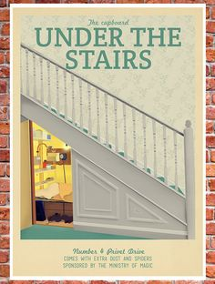 Retro Travel Poster Harry Potter The cupboard by TeacupPiranha