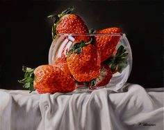 Strawberry Drawing, Strawberry Art, Painting Still Life, Still Life Art, Hyper Realistic Paintings, Cherry Wine, Apple Art, Fruit Painting, Food Drawing