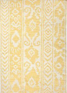 Flat-Weave Tribal Pattern Wool Yellow/Ivory Area Rug mediterranean rugs