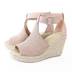 401c564e3618 Style   Espadrille Wedge Sandal Heel Height   3 Main Color   Mauve Main  Material   Faux Suede Upper Fit   True to size Perforated upper Adjustable  Ankle ...