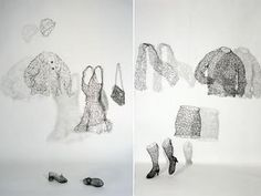 "Wire Sculpture by Karen Searle: ""Essence Installation Detail, Jacket, Dress; Crocheted and hand-manipulated steel wire; life-sized."""