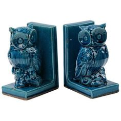 Wiley 2-Piece Blue Owl Bookends at Lampsplus.com