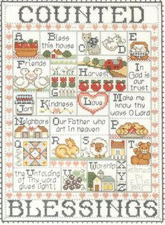 """Bucilla counted cross-stitch #40545 """"Counted Blessings"""" - 1995-96 as a gift for friend's 1st Christmas in Canada as a family."""