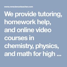 Chemistry homework help website