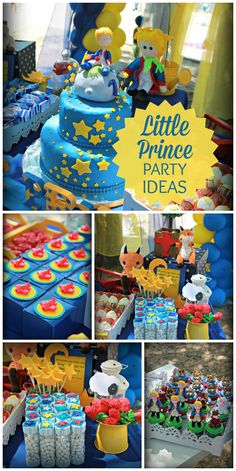 A Little Prince first birthday party based on the book with an amazing cake and decorations! See more party planning ideas at CatchMyParty.com!