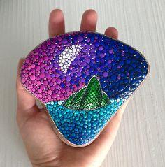 Garden Ornaments – Nightsky over Island Dotart painted Rock – a unique product by CreateAndCherish on DaWanda