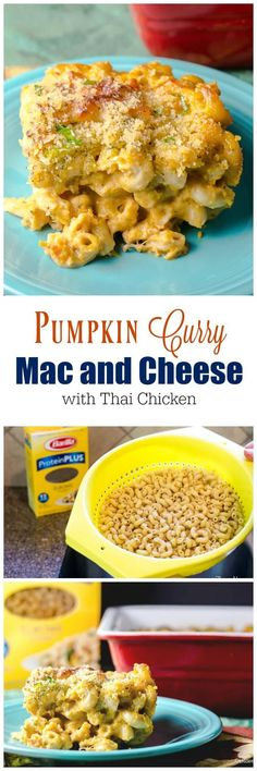 #FamilyPastaTime #ad This unique creamy and comforting mac and cheese casserole adds the earthy Fall flavors of pumpkin and curry to a traditional mac and cheese and includes Thai Chicken to turn it into a meal. via @flavormosaic