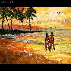 Sunset Beach Surf Sand Palm Palette Knife Original Art Oil Painting Andre Dluhos | eBay