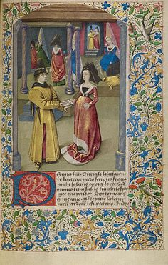 The Story of Two Lovers   Euryalus Sends His First Letter to Lucretia  Unknown  French, about 1460 - 1470  Tempera colors and gold paint on parchment  6 15/16 x 4 1/2 in.  MS. 68, FOL. 30