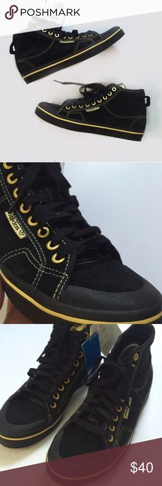 NWT!  Adidas black/gold Honey Mid high top Brand new! Adidas Shoes Sneakers