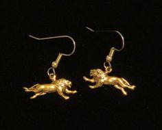 Lion Earrings 24 Karat Gold Plate Africa Animal Zoo Lions King of the Jungle Gift EG528 by NostalgicCharm on Etsy